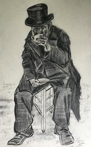 Vieillard buvant du café d'après Vincent Van Cogh. Didier Mazoué