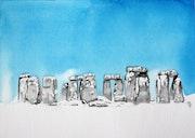 Stonehenge sous la neige.