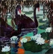 Peinture sous verre - Cygnes.