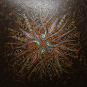 Zeitgenössische Malerei : Abstrakte Formenbewegung / Braun.. Jonathan Pradillon