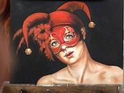 Masque en rouge. Rebeca Leynez