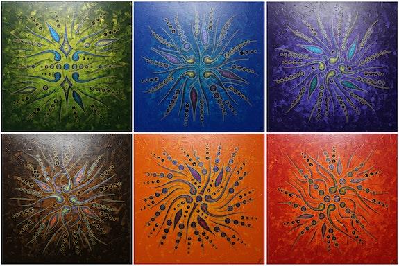 Serie von Gemälden : Abstrakte Formbewegungen / Farben.. Jonathan Pradillon Jonathan Pradillon