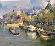 Les péniches du pont des arts à Paris. R Ricart
