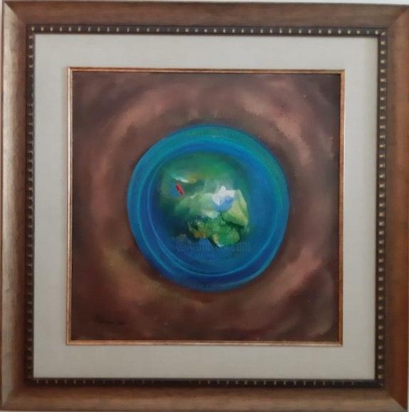 Brown Blue Aerial View Whirling Dervish by Khusro Subzwari. Khusro Subzwari La Galleria