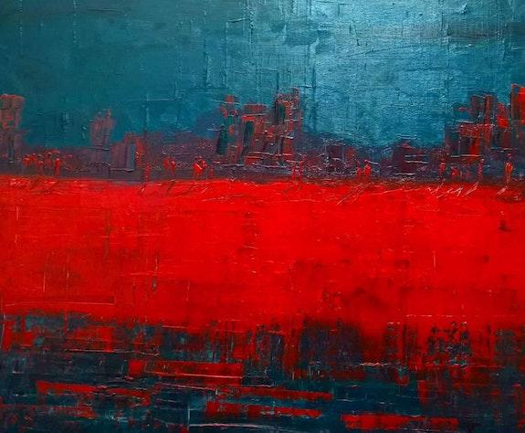 Into red - people go and people stay. Maka Kvartskhava Maka Kvartskhava