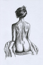 Charcoal Sketch Black and white Fine elegant Classy Art Nude womans back. Ilona Winter