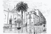 Calle de La Laguna lloviendo.