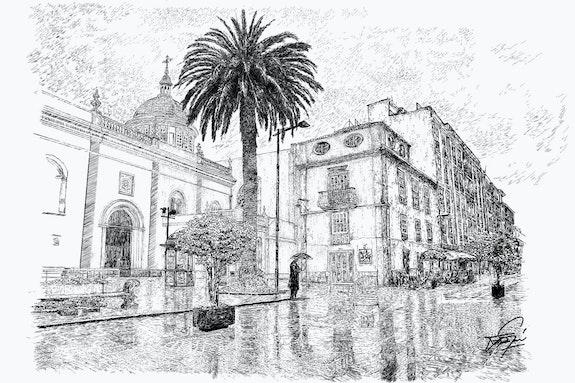 Calle de La Laguna lloviendo. Fragardel Francisco Garcia