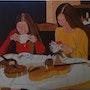 Peinture a l'huile sur toile de Lucien prost intitulé pause café. Prost's Art