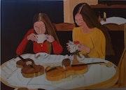 Peinture a l'huile sur toile de Lucien prost intitulé pause café.