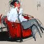 Fauteuil rouge et cravate à pois. David Jamin