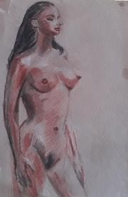 Jeune fille brune nue au pastel.