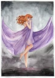 Tristesse Cachée (Peinture Aquarelle).