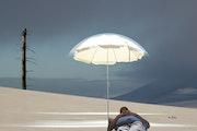 Le dormeur sur une plage à côté d'un arbre mort. Max Parisot Du Lyaumont