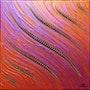 Contemporary painting : Iridescent orange pink fluid.. Jonathan Pradillon