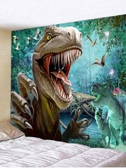 Fabric Wall Tapestry Dinosaur T-Rex 79 X 59 inches Free Shipping. Elaine Harrald