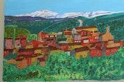 Le village de Roussillon et le Mont Ventoux.