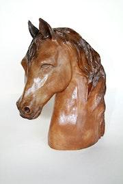 Sculpture Tête de cheval arabe.