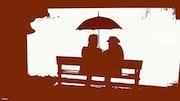 Conversation sous parapluie.