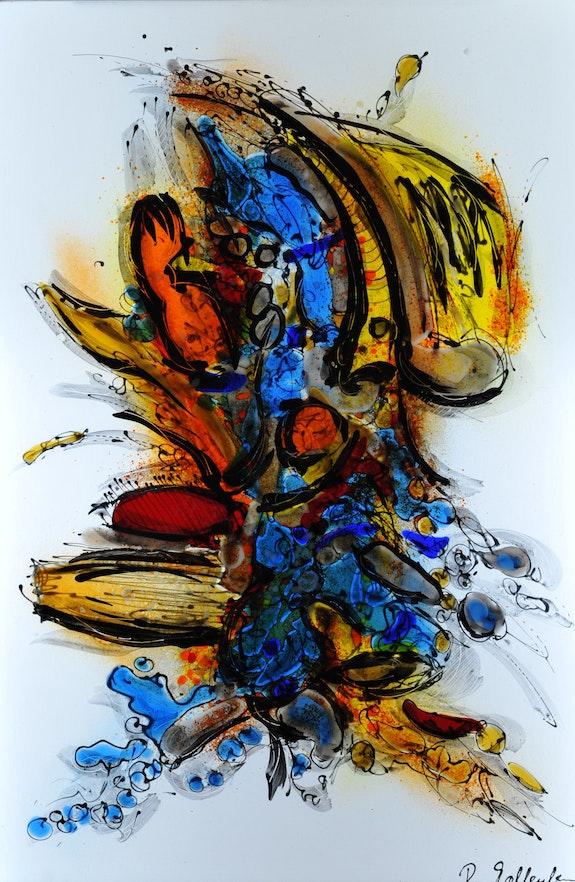 Tres belle oeuvre abstrait signé par l'artiste. Rudi Kallenborn Golden Century Europe