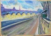 Paris eternel le Pont Royal et la Seine.