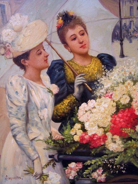 Ladies at a flowercart.. Sagasta Bert Veenema