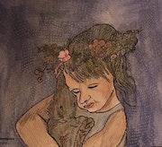 Un petit ange et son lapin.
