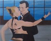 Peinture a l'huile sur toile intitulé en dansant.