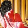 Tatouage dans le dos d'une femme. Christian Pacaud