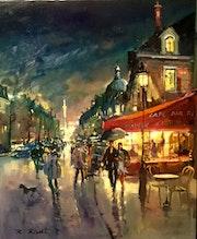 Paris Boulevard saint Antoine et la Bastille de nuit.