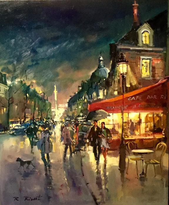 Paris Boulevard saint Antoine et la Bastille de nuit. Robert Ricart R Ricart