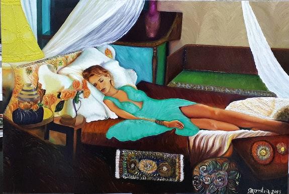 A riposo olio su tavola. 45X66 cm. Skontra Milko Skontra
