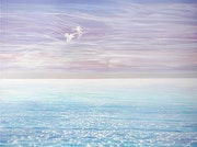White Birds Blue Sea - large seascape oil painting.