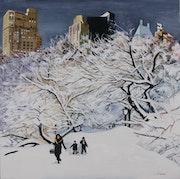 Central park sous la neige.