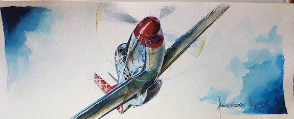 Tuskegee airmen p51d Mustang. François Baldinotti Forangeart F. Baldinotti Peintre De l'air