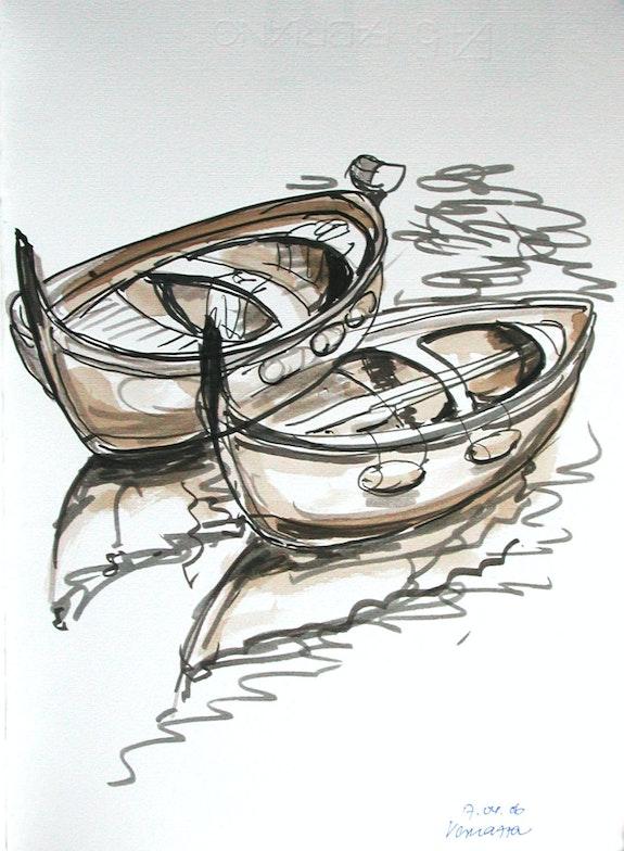 Vernazza, Cinque terre, Boote im Hafen (2006). Hajo Horstmann Hajo Horstmann