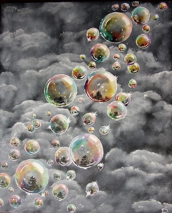 Les bulles de savon sur fond de nuages. Lisette Swinnen Lisette