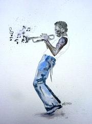 Aquarelle le jazz man, saxophoniste. Yokozaza