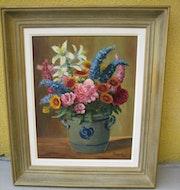 Bouquet de fleurs dans pot alsacien. Irénée Walter
