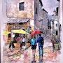 Sous la pluie. Michel Braillon