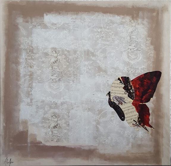 Ludivine au Jardin - papillon rouge et bergère. Alie Gato Alie Gato