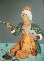 Peinture sous verre - Personnage extrait d'un tableau d'Ingres. Annie Saltel