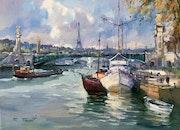 Paris la Seine le Pont Alexandre lll et la Tour Eiffel.