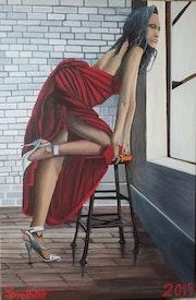 Die Frau am Fenster.