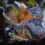 Abstrait «j» sur Bois. Patricia Vivier Robert » Pat V »