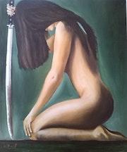 Peinture a l'huile intitulé nue au sabre.