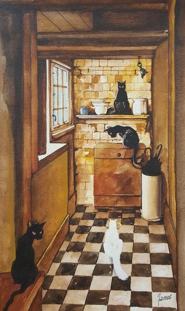 La cuisine se remplie de chats. C'est l heure du repas. James