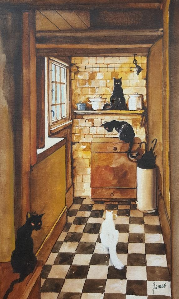 La cuisine se remplie de chats. C'est l heure du repas. Maire James James