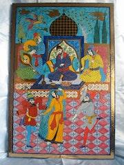 Panneau de lave de Volvic de style miniature persanne, divertissement princier. Retraité