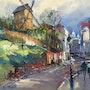 Paris jadis la rue Lepic à Montmartre. R Ricart